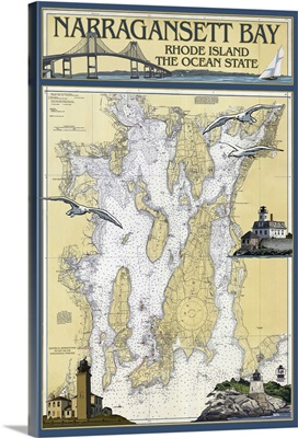 Narragansett Bay, Rhode Island Nautical Chart: Retro Travel Poster