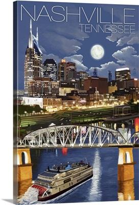 Nashville at Night - Nashville, Tennessee: Retro Travel Poster