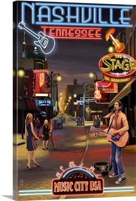 Nashville, Tennessee - Broadway at Night: Retro Travel Poster
