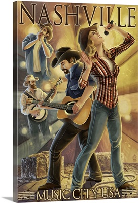 Nashville, Tennessee - Country Band Scene: Retro Travel Poster
