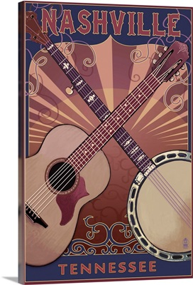 Nashville, Tennessee - Guitar and Banjo Music: Retro Travel Poster