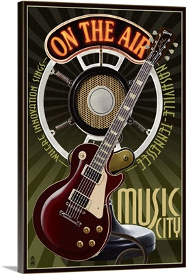 Nashville, Tennessee - Guitar and Microphone: Retro Travel Poster