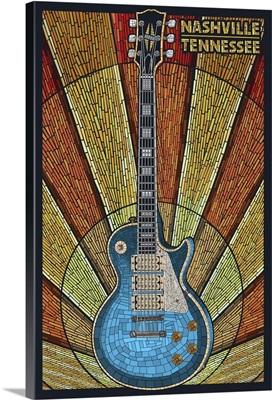 Nashville, Tennessee - Guitar Mosaic: Retro Travel Poster
