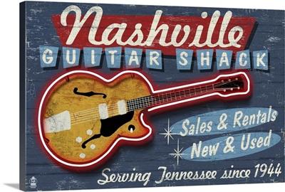 Nashville, Tennessee - Guitar Shack Vintage Sign: Retro Travel Poster