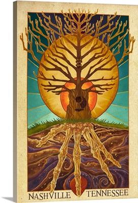 Nashville, Tennessee - Guitar Tree: Retro Poster Art