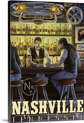 Nashville, Tennessee - Saloon Scene: Retro Travel Poster
