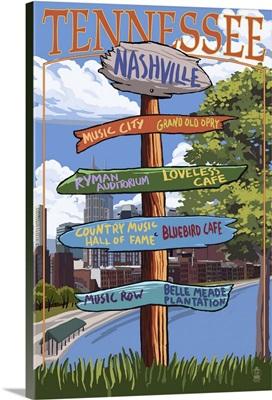 Nashville, Tennessee - Sign Destinations Ver 3: Retro Travel Poster