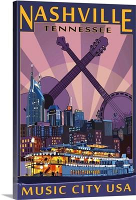 Nashville, Tennessee - Skyline at Night: Retro Travel Poster