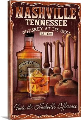 Nashville, Tennessee - Whiskey Vintage Sign: Retro Travel Poster