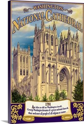 National Cathedral - Washington, DC: Retro Travel Poster
