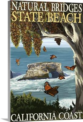Natural Bridges State Beach, California Coast: Retro Travel Poster
