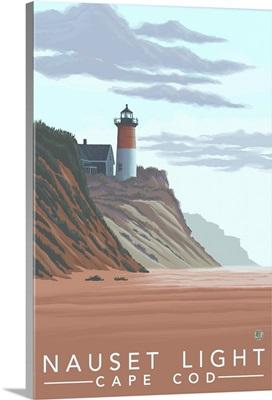 Nauset Light, MA: Retro Travel Poster