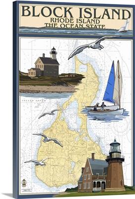 Nautical Chart, Block Island, Rhode Island