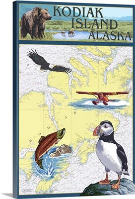 Nautical Chart, Kodiak Island, Alaska