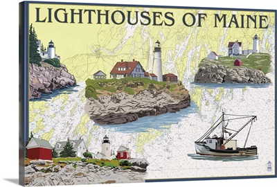 Nautical Chart, Lighthouses of Maine