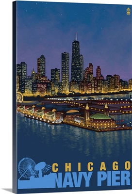 Navy Pier and Chicago Skyline: Retro Travel Poster