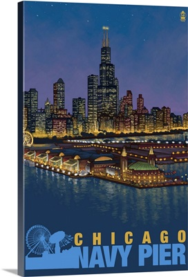 Navy Pier and Sears Tower - Chicago, IL: Retro Travel Poster