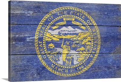 Nebraska State Flag on Wood