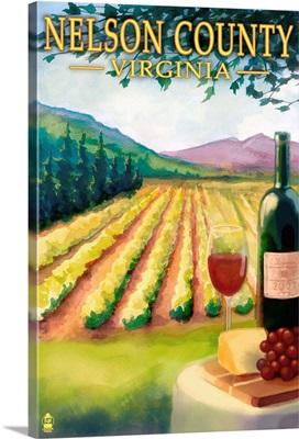 Nelson County, Virginia - Vineyard Scene: Retro Travel Poster