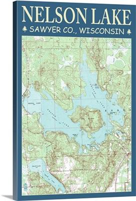 Nelson Lake Chart - Sawyer County, Wisconsin: Retro Travel Poster