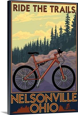 Nelsonville, Ohio - Ride the Trails: Retro Travel Poster