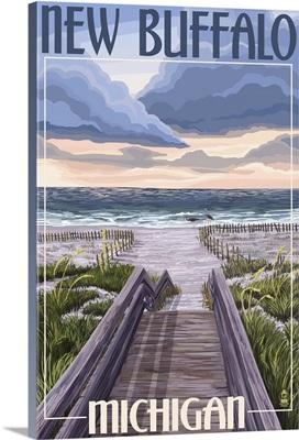 New Buffalo, Michigan - Beach Scene: Retro Travel Poster