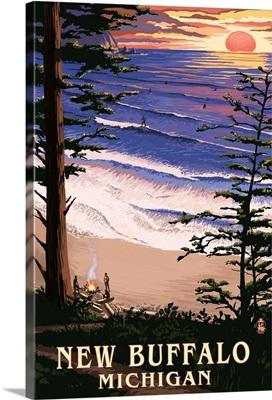 New Buffalo, Michigan - Sunset on Beach: Retro Travel Poster