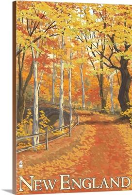 New England Fall Colors: Retro Travel Poster