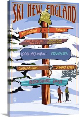 New England - Ski Areas Sign Destinations: Retro Travel Poster