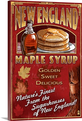 New England - Syrup Vintage Sign: Retro Travel Poster
