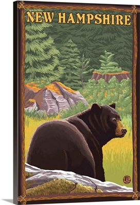 New Hampshire - Black Bear in Forest: Retro Travel Poster