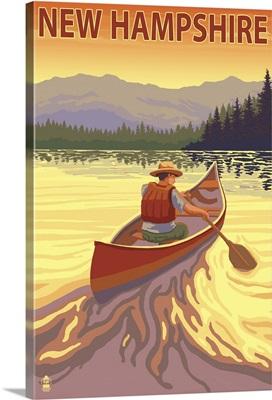 New Hampshire - Canoe Scene: Retro Travel Poster