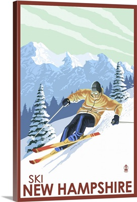 New Hampshire - Downhill Skier: Retro Travel Poster