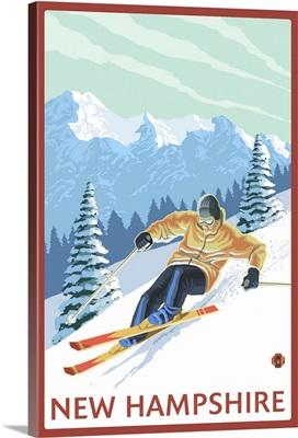 New Hampshire - Downhill Skier Scene: Retro Travel Poster