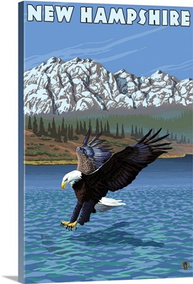 New Hampshire - Eagle Fishing: Retro Travel Poster