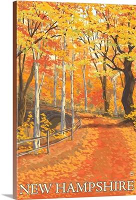 New Hampshire - Fall Colors Scene: Retro Travel Poster
