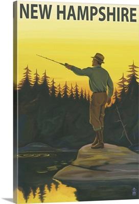 New Hampshire - Fisherman: Retro Travel Poster