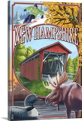 New Hampshire - Montage Scenes: Retro Travel Poster