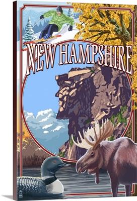 New Hampshire - Montage Scenes w/ Old Man: Retro Travel Poster