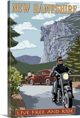 New Hampshire - Motorcycle Scene and Old Man of the Mountain: Retro Travel Poster