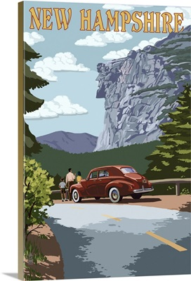 New Hampshire - Old Man of the Mountain and Roadway: Retro Travel Poster