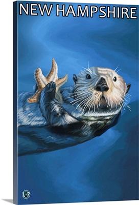 New Hampshire - Sea Otter Scene: Retro Travel Poster