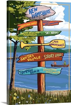 New Hampshire - Sign Destinations: Retro Travel Poster