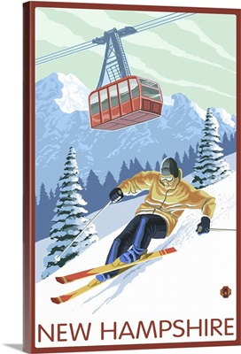 New Hampshire - Skier and Tram: Retro Travel Poster