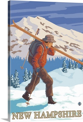 New Hampshire - Skier Carrying Skis: Retro Travel Poster