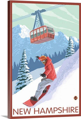 New Hampshire - Snowboarder and Tram: Retro Travel Poster