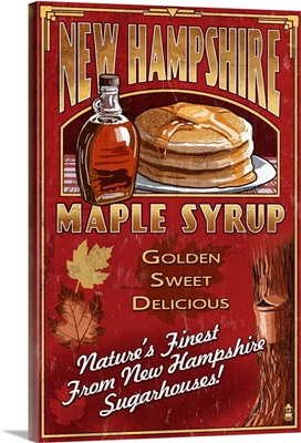 New Hampshire - Syrup Vintage Sign: Retro Travel Poster