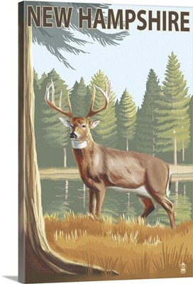 New Hampshire - White-Tailed Deer: Retro Travel Poster