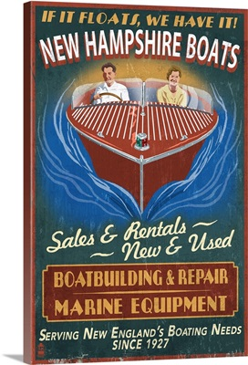 New Hampshire Wooden Boats Vintage Sign: Retro Travel Poster
