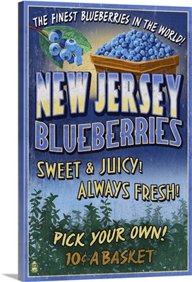 New Jersey - Blueberry Farm Vintage Sign: Retro Travel Poster